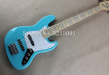 2015 Top Quality china Custom Musical Instruments jazz 5 strings light blue electric bass with White Pearl Pickguard(China)