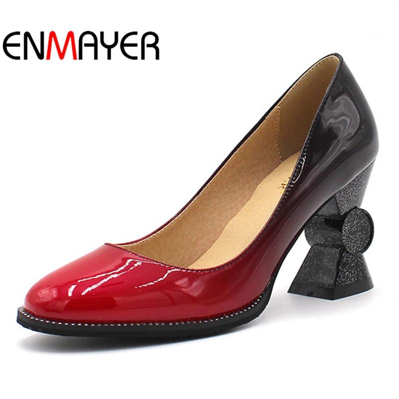 Otoño Plus Enmayer rojo Para En Mujeres Bolso Mujer Alta negro Zapatos Apricot Y De Sexy Slip Extraño Bombas Casuales Primavera Tamaño Las Estilo Talones Fx7rqZwF