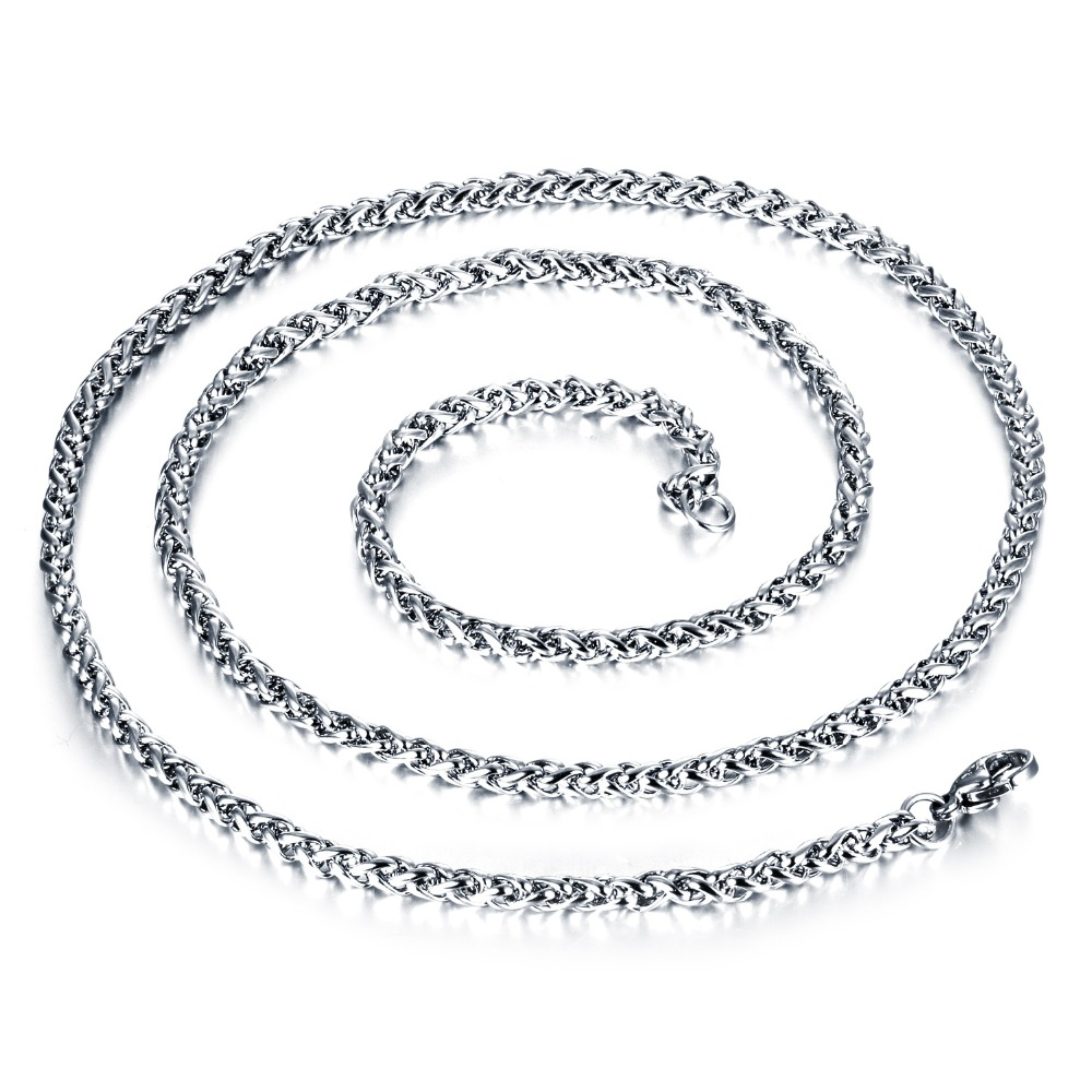 65/60/55/50/45cm Fashion Jewelry Style Boy's Men statement Necklaces silver color stainless steel Single Chain