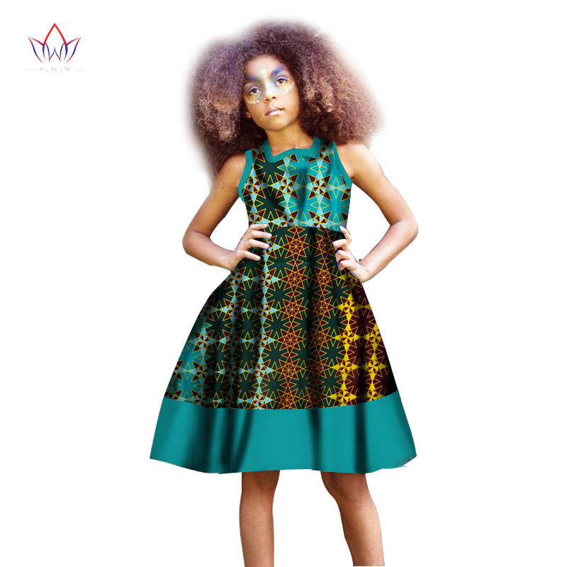 Africain fille robe enfants dashiki Traditionnel coton sans manches Robes Correspondant Afrique Impression fille naturel Robe D'été WYT45