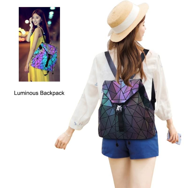 Nevenka Luminous Backpack Women Leather Geometric Backpacks Diamond Lattice Drawstring Backpacks Holographic Backpack Purse 2018 #6