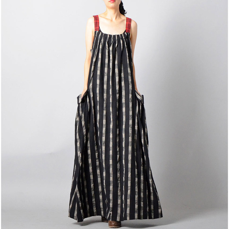 Johnature New 2019 Summer Sleeveless Tank Dresses Vintage Casual Plaid Loose Tie Slash Neck Cotton Linen