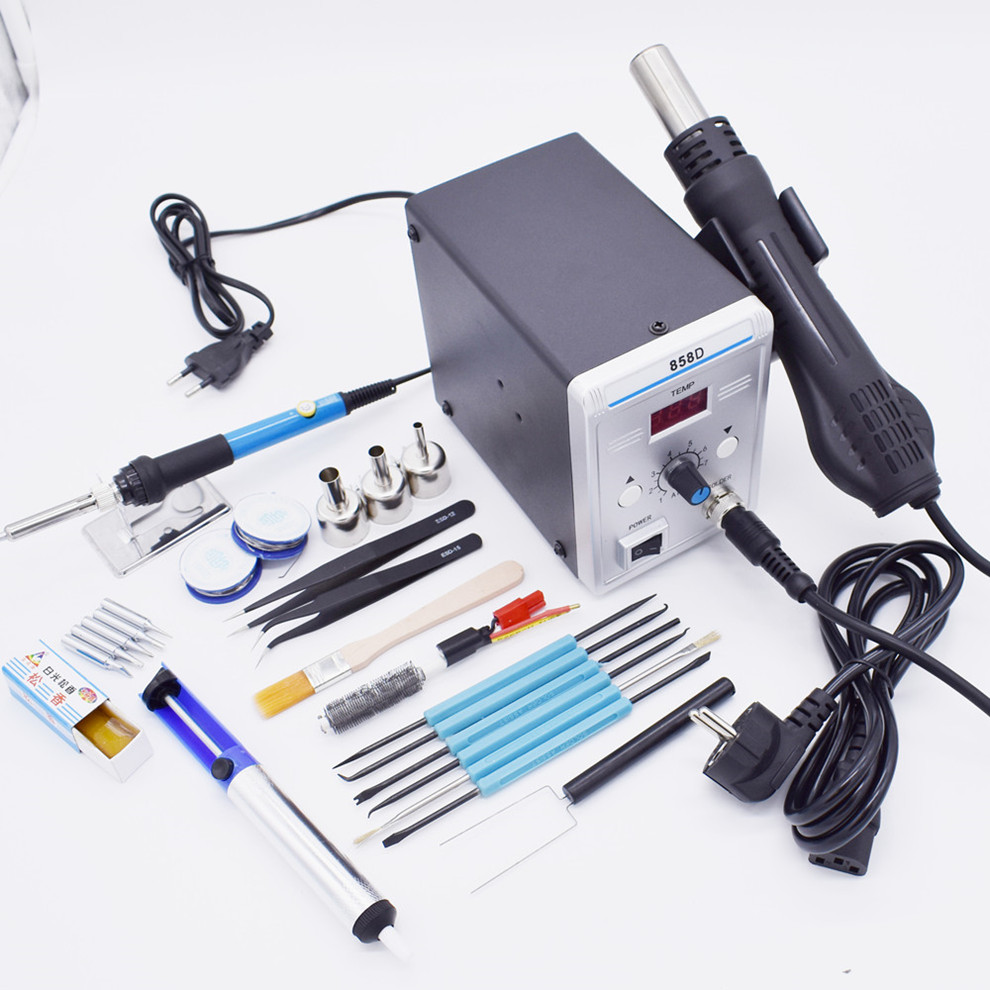 700W 858D ESD Soldering Station LED Digital BGA Rework Solder Station Hot Air Gun + 60W Electric Iron Tools Set