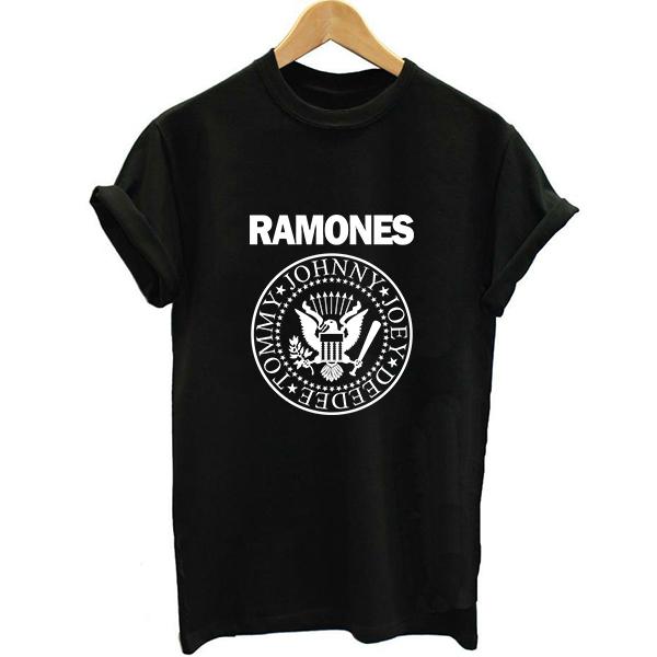 Unisex Estilo Solto Ramones Punk Rock Moda Verão 2017 Mulheres Carta de Impressão T-shirt Dos Ganhos Vogue Feminino Impresso Tshirt Muisc Banda