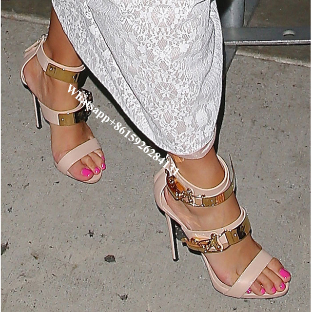 f0025f1243b Nude Black Metal Buckles Stiletto Heels Sandals Sexy Celebrity Style  Gladiator Strappy High Heels Party Dress Pumps Women Shoes