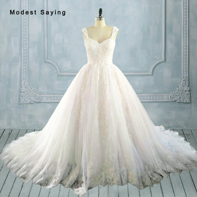 Real White Elegant A Line Beaded Lace Wedding Dresses 2017 Lace Up ...