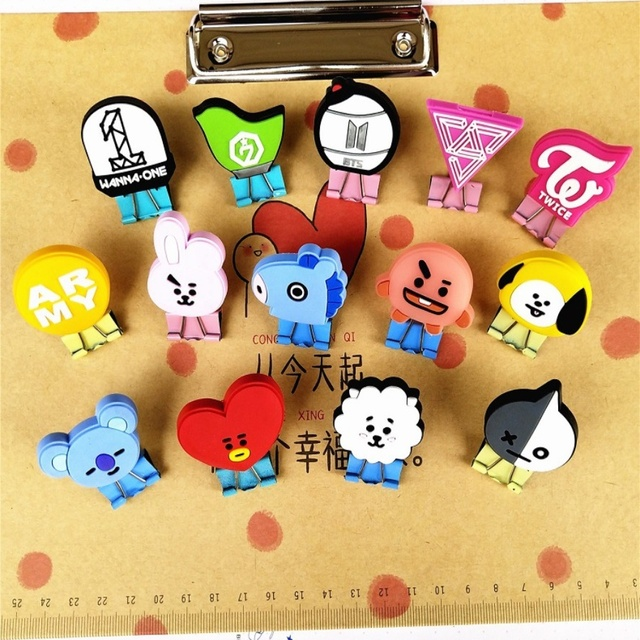 US $1 99 |1pc Kpop BTS BT21 Cute Metal Binder Clips TWICE GOT7 SEVENTEEN  WANNA ONE File Paper Clip School Supplies-in Jewelry Findings & Components