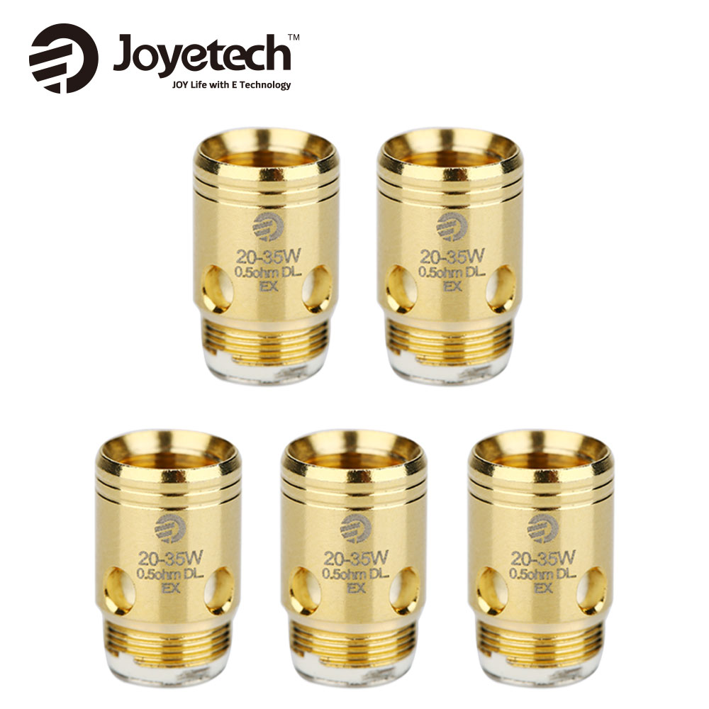 где купить Original Joyetech EX Coil Head 5pcs 1.2ohm MTL & .5ohm DL Coil Head for Exceed D22 Tank/ Exceed D19 Atomizer E Cigarette Coils дешево