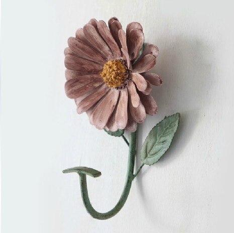 bathroom accessories french retro decoration wall hanger purplish red flower coat hooks towel ring
