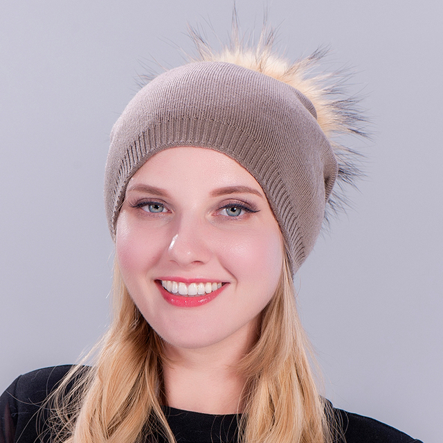 1Pcs Faux Fur Ball Pom Pom Bonnet Winter Hat For Women Warm Knitted Casual High Quality Hip Hop Hats Female Skullies Beanies