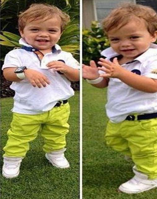 Verano chándal Casual niños boys algodón blanco manga corta de las camisetas + Pants 2 unids ropa de los cabritos de los DY113B