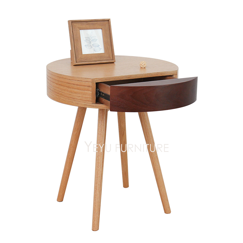 Modern Design Wooden Side Table with Storage drawer, Living Room ...