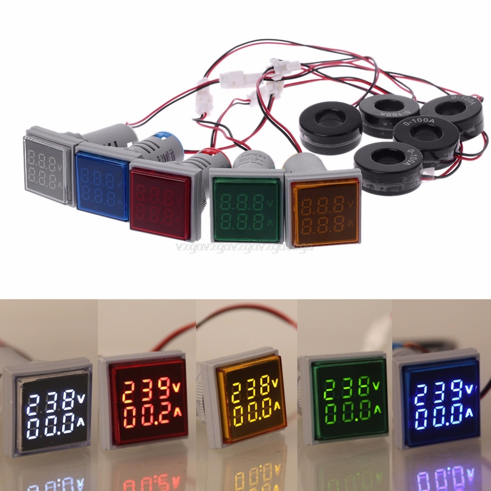 Square LED Digital Dual Display Voltmeter & Ammeter Voltage Gauge Current Meter AC 60-500V 0-100A D18 Dropship