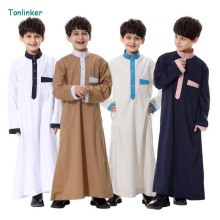 2018 NEW Muslim Arab Middle East Boy Robe Clothes Islamic Clothing children Kids Abaya Embroidery Arabic