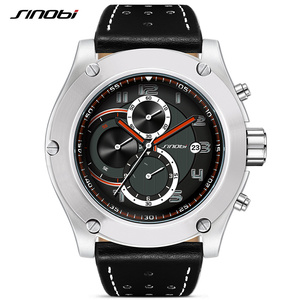 Image 5 - Reloj deportivo Marca SINOBI para hombre, correa de reloj de cuero, resistente al agua, cronógrafo, reloj de pulsera militar, Saat, RU