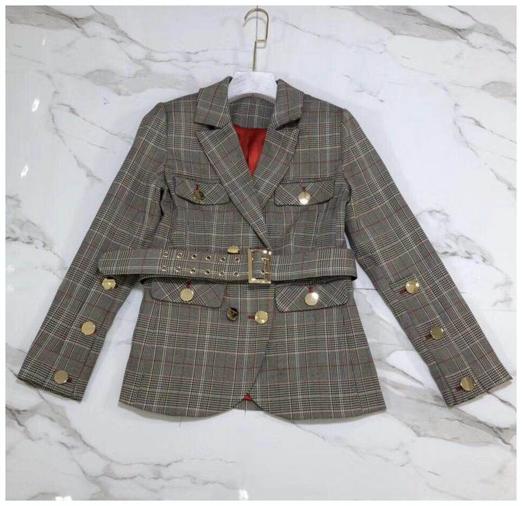 Women Plaid Blazer 2018 New Fashion Vintage Spring Autumn Female British Elegant Slim Blazer OUterwear With Belt Single Breasted