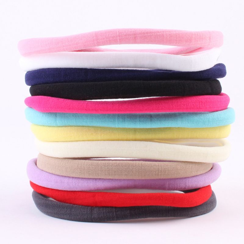 Baby Girl Elastic Solid Candy Color Hair Band Seamless Skinny Headband Scrunchie