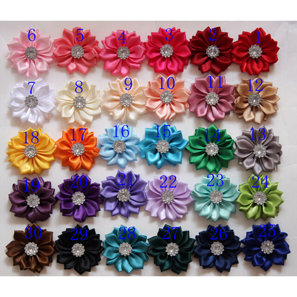 300 pcs lot 4 cm mini satin fabric flower Hand stitched satin flowers with rhinestone apparel