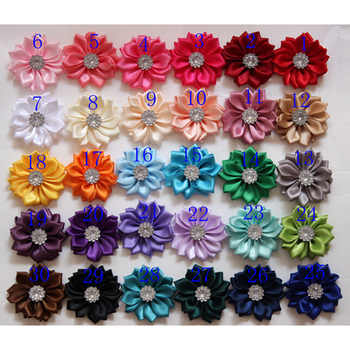 300 pcs/lot ,4 cm mini satin fabric flower,Hand-stitched satin flowers with rhinestone apparel fashion accessories tie headwear - DISCOUNT ITEM  13 OFF Apparel Accessories