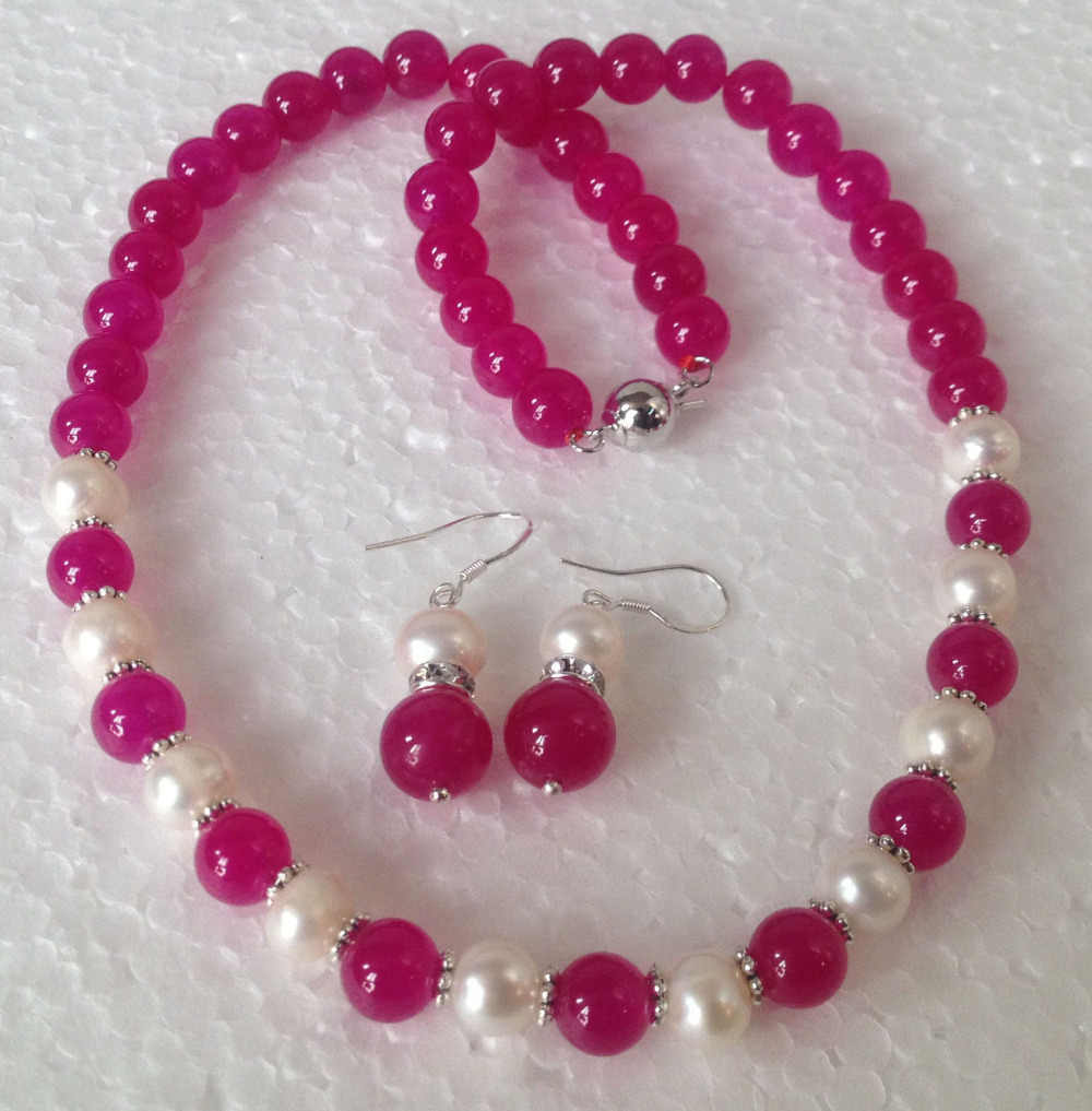 DYY shippingFashion 8-9MM Real White Akoya Cultured Pearl/Rose Jade necklace earrings set (A0423)