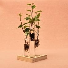 Tubo de ensayo En Forma de Jarrón De Vidrio Transparente Flor Planta Creativo Titular de Contenedores de Interior Decoración Del Hogar Del Ornamento