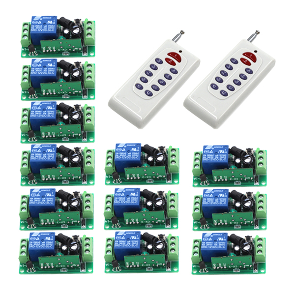 New Arrival DC 12V 10A 1CH 1 Channel Wireless 2 Transmitter+12 Receiver RF Remote Control Switch SKU: 5443 new arrival for ac 220v 1ch small channel wireless remote control radio switch 315mhz 1 transmitter 3 receiver 200m sku 5226