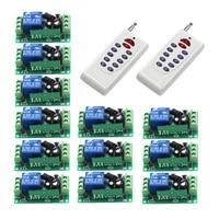 Nueva Llegada de La CC 12 V 10A 1CH 1 Canales RF Interruptor de Control Remoto Inalámbrico 2 Transmisor 12 Receptor SKU: 5443