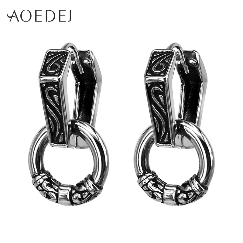 AOEDEJ Vintage Double Hoop Earrings Stainless Steel Punk Black Hoop Earrings For Men Ethnic Earrings Huggie Oorbellen kinderen glitter hoop stud earrings