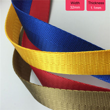 50 Yards 32mm Width Tickness Nylon Tape Bag Straps Sewing Webbing Trimming Garment Ribbon DIY Craft Black White Red Yellow Blue 50 yards 25mm 1 width nylon webbing strapping ribbon sewing tape backpack belt bag clothing diy garment strap 1mm thickness