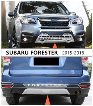 For SUBARU FORESTER 2015 2016 2017 2018 Front & Rear Bumper Guard Plate Protector Anti-impact High Quality ABS Auto Accessories image