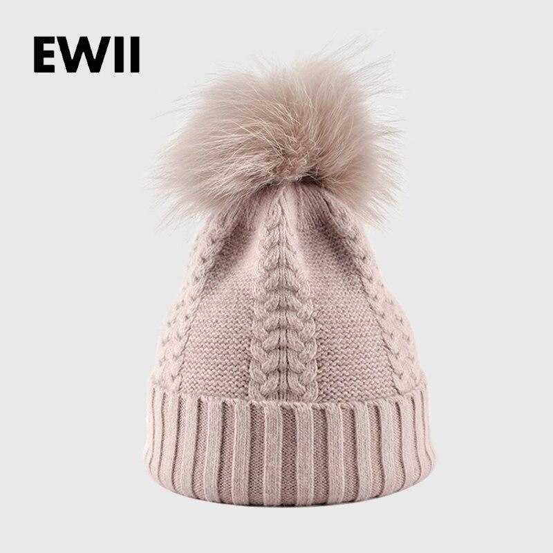 2017 Winter cap woman beanie caps girl knitted cotton hats for women beanies gorro ladies warm bonnet femme fur hat bone