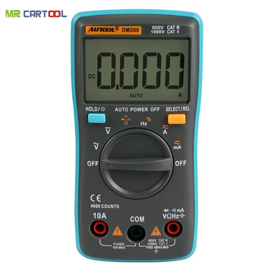 Prix pour DM200 Portable Autoranging Multimètre Numérique 4000 Points Rétro-Éclairage AC/DC Ampèremètre Voltmètre Ohm Mètre Portatif même comme ZT100