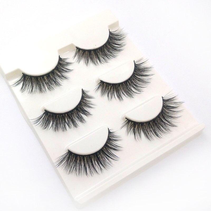 3 Pairs 100% handmade real mink fur false eyelash 3D strip mink lashes thick fake faux eyelashes Makeup beauty False Eyelashes