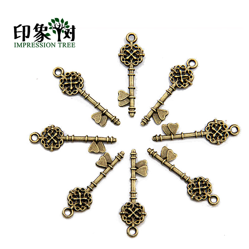 10Pcs/Pack Small Vintage Keys Charms Cruciate Flower Antique Bronze Plated DIY Jewelry Making Impression Tree Jewelry 937