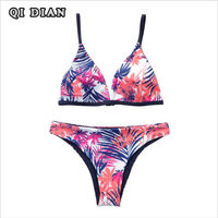QI DIAN Newest Bikini Swimwear Women Swimsuit Bathing Suit Bikini Set 2017 Thong Bottom Vintage Print