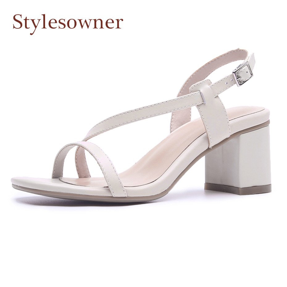 Stylesowner fashion concise narrow band hollow women sandals summer shoes open toe thick high heel belt buckle gladiator shoes 2017 hot selling women solid color narrow band open toe hollow out sandals summer fashion back zipper high thin heel dress pumps