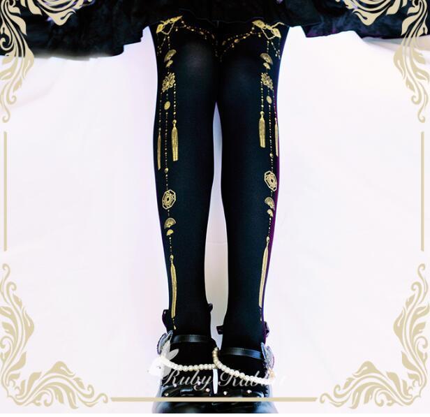 Gothic Lolita Impresso Meia-calça Segredo Yin e Yang Impresso Meia-calça para Mulheres por Ruby Coelho