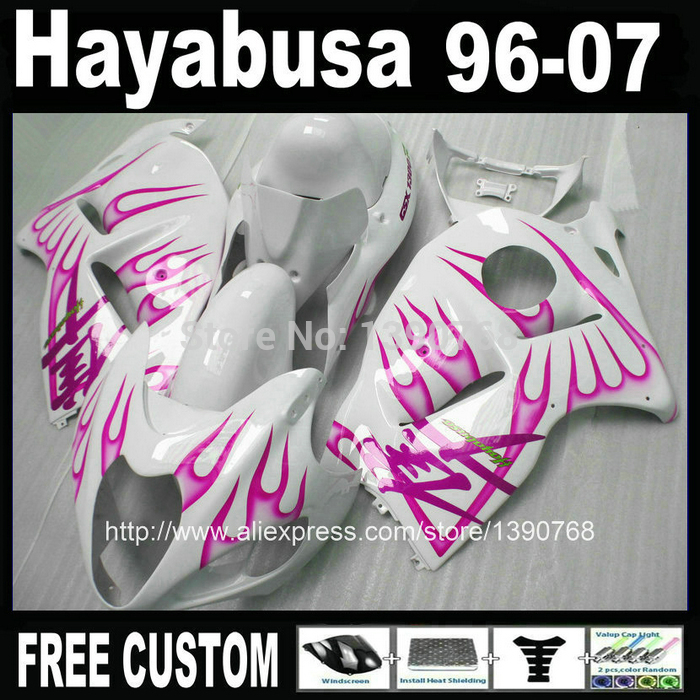 High Quality ABS  for SUZUKI Hayabusa fairing kit GSXR1300 1996-2007 purple flames in white fairings set GSX1300R 96-07 FF23