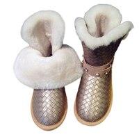 True Fur Snow Boots Warm Flat Slip Diamond Size