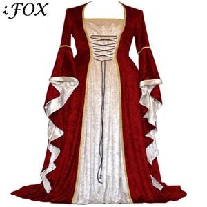 Винтажное платье для костюмированной вечеринки в стиле ренессанс, платье длиной до пола с расклешенными рукавами и поясом, 2019