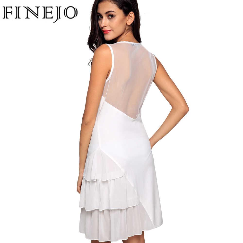 FINEJO décontracté maille à volants robe femmes 2017 élégant dames o-cou sans manches Patchwork Mini Slim volant robe longue