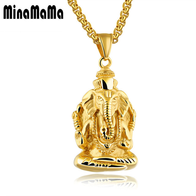 Religious ganesha indian elephant head ganesha pendant chain religious ganesha indian elephant head ganesha pendant chain necklaces for men gold silver color stainless steel aloadofball Image collections