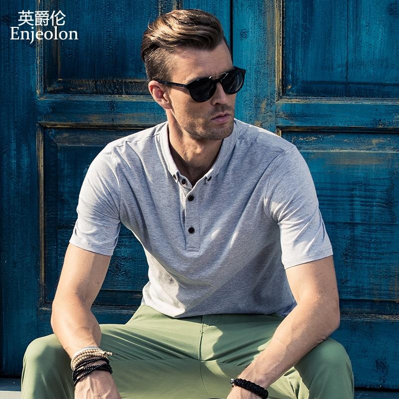 Enjeolon brand summer Men   polo   shirt casual short sleeve   polo   Shirts solid black plus size 3XL Clothing Tops Tee T1649