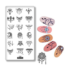 1Pcs Necklace Flower Pendant Design Nail Art Print Stencil Lace Rectangle Stamping Polish Template Manicure Stamp Tools C68