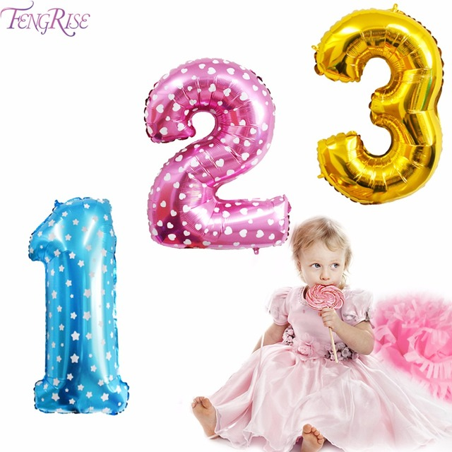 FENGRISE 32inch Gold Foil Balloons Numbers Happy Birthday Party