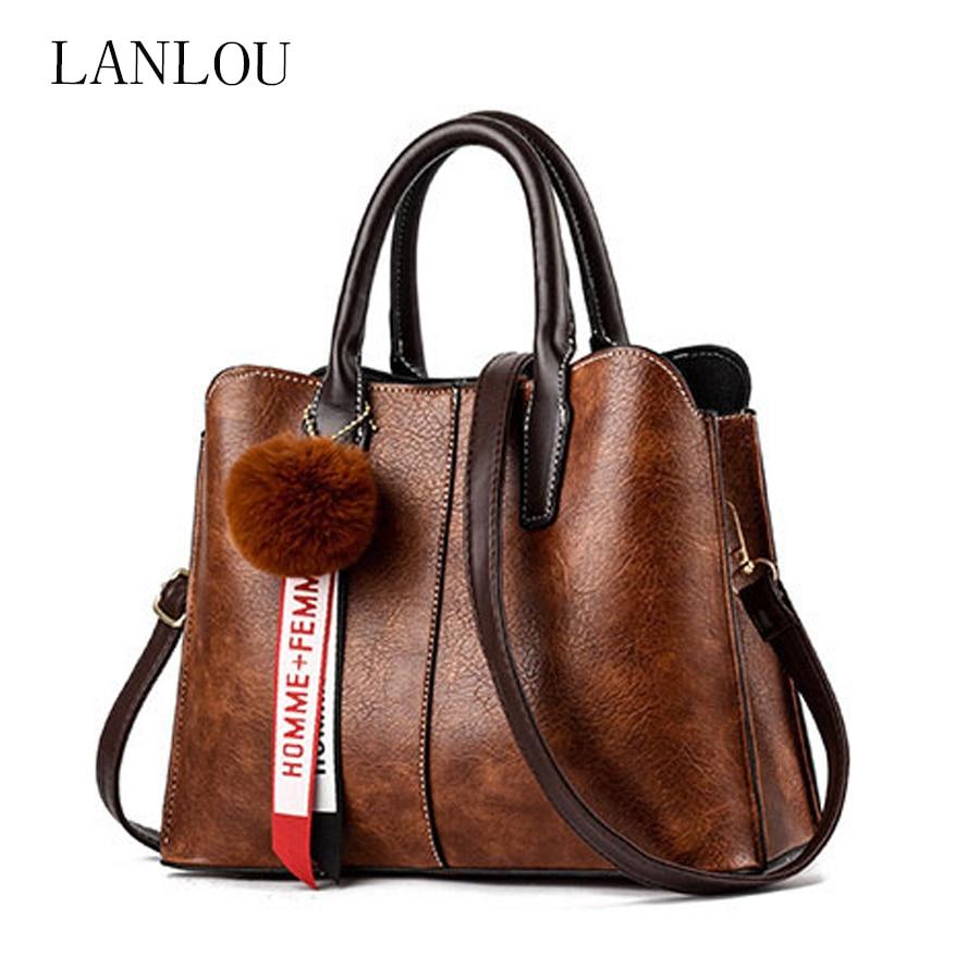 LAN LOU Shoulder Bag Women Bag For Women 2019 High Quality Fashion Leather Bags New Hairball Handbag Ladies Casual Crossbody Bag