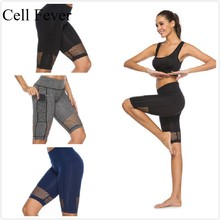 Womens Sports Shorts 5 High Waist Tummy Control Yoga Short Workout Running Athletic Gym Compression Side Pockets