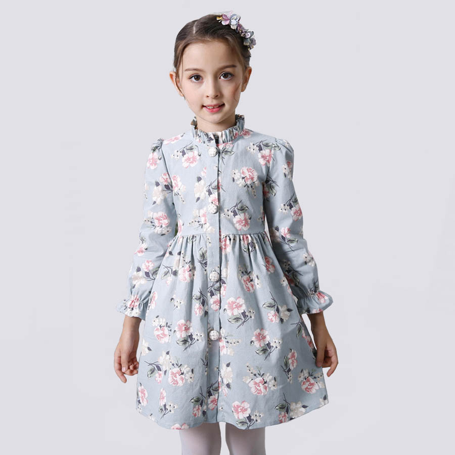 Spring Girls Dress Long Sleeve Cute Blue Flower Elegant Party Dresses For Girls European Children Dresses Beautiful Kids Clothes 2017 cute children girls cotton dress long sleeve print tutu party dresses toddler kids clothes outfits 1 5y