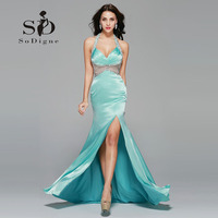 Prom Dress 2016 SoDigne Mermaid Rhinestone Hot Sale Halter Deep V Neck Vestido De Festa Longo