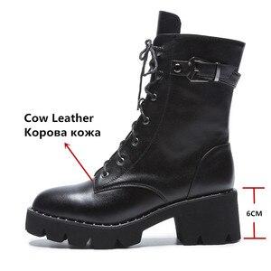 Image 2 - FEDONAS جديد النساء حذاء من الجلد جلد طبيعي الخريف الشتاء الدافئة عالية الكعب أحذية امرأة جولة تو الصليب تعادل دراجة نارية الأحذية